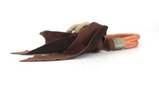 Other Unbranded Woman Designer Brown Threaded Suede Tie Belt Size XS/S