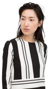 Zara Crop Striped Spring Top Black white