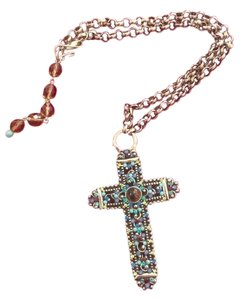 Faith F.A.I.T.H silver cross necklace with swarovski crystals