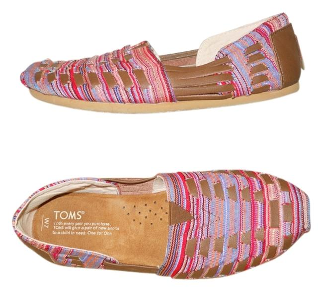 Item - Brown Multi Color Fabric & Leather Flats Size US 7 Regular (M, B)