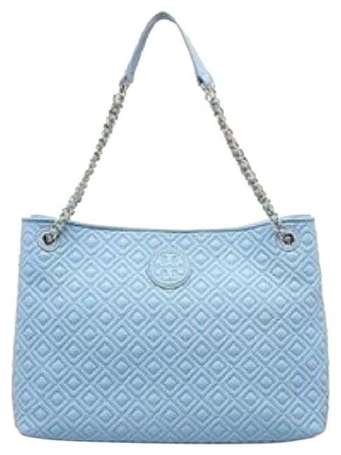 Item - Marion Quilted Chain-shoulder Slouchy Fairview Blue Leather Tote