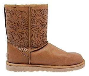 UGG Australia Shearling Mid Calf Cutout Brown Boots