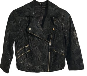 Topshop Leather Motorcycle Green and Black Leather Jacket