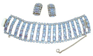 Other Vintage Baby Blue Rhinestone Bracelet Earrings