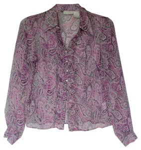 Worthington Sik Chiffon Top Violet and Purple Paisley
