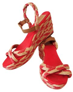 Tory Burch Natural/Red Wedges
