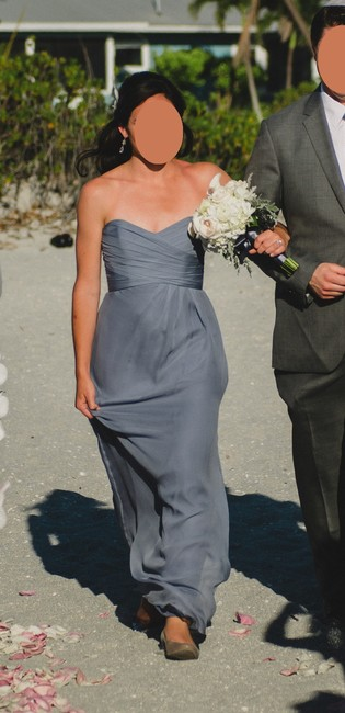 Item - Slate Silk Long Chiffon Formal Bridesmaid/Mob Dress Size 2 (XS)