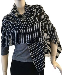 Black & White Striped Sheer Wrap
