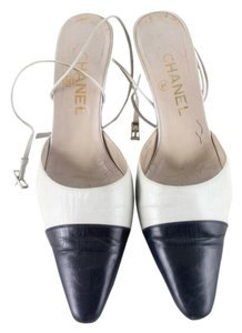 Chanel Beige & Navy Blue Mules