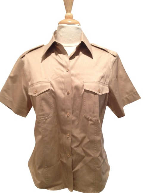 Preload https://item5.tradesy.com/images/brooks-brothers-tan-tailored-short-sleeve-button-down-top-size-14-l-1483259-0-0.jpg?width=400&height=650