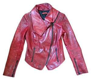 Alice + Olivia Leather Gusset Red Leather Jacket