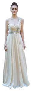 Night Moves Prom Collection 6679 One Shoulder Champagne Wedding Dress