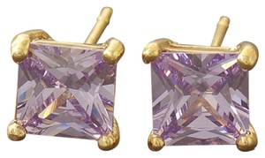 Other Classic 9K Solid Gold Filled Amethyst Ladies Square Stud Earrings
