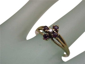 Vintage Estate 14k Yellow Gold Diamond Rubies Ring,1950's