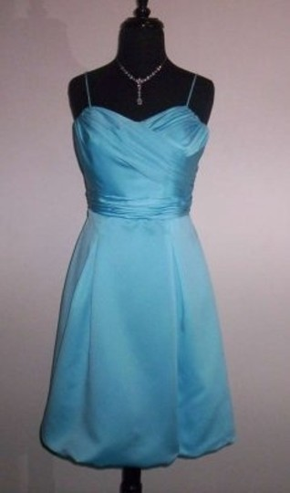 Alfred Angelo Blue Box Satin 7202 Formal Bridesmaid/Mob Dress Size 12 (L)