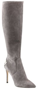 B Brian Atwood Metal Heel Plate Suede Grey Boots