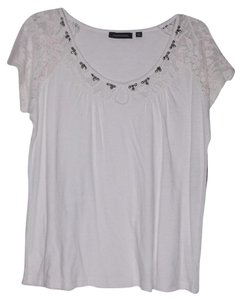 Notations Medium Scoop Neck Lace T Shirt White