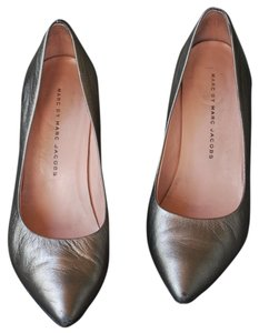 Marc by Marc Jacobs Chunky Leather Pointed Toe Metallic Pumps