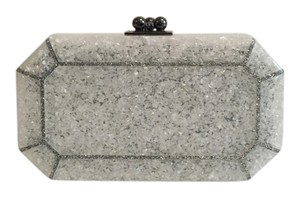 Edie Parker White and Silver Glitter Clutch