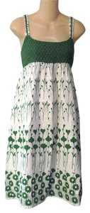 O'Neill short dress L Cotton White & Green Floral Print Boho Crochet on Tradesy