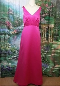 Alfred Angelo Fuchsia Satin 7204 Formal Bridesmaid/Mob Dress Size 14 (L)