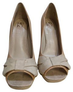 MRKT Suede Leather Embellished Beige Platforms
