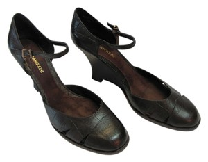 Enzo Angiolini New Reptile Design Size 9.50 M Excellent Condiiton Black Wedges