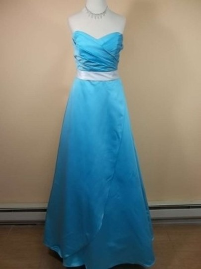 Alfred Angelo Blue Box/Ivory Satin 7205 Formal Bridesmaid/Mob Dress Size 8 (M)