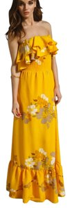 Yellow Maxi Dress by MM Couture Maxi Strapless Ruffles Floral Print