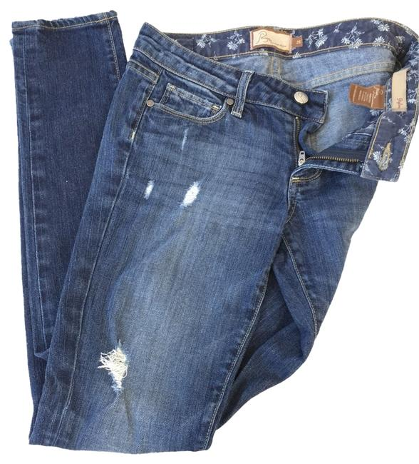 Item - Blue Distressed Skyline Deconstructed Straight Leg Jeans Size 25 (2, XS)