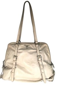 Prada Cervo Large Tote in Off White