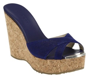 Jimmy Choo Cork Wedge Blue Sandals