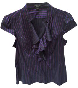 Express Top Black purple pink stripes