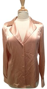 Dana Buchman Silk Button Down Shirt Rosegold