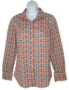 J.Crew Cotton Perfect Geometric Button Down Shirt