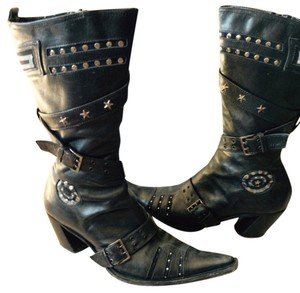 Rocker Girl Studded Buckles Straps black leather Boots