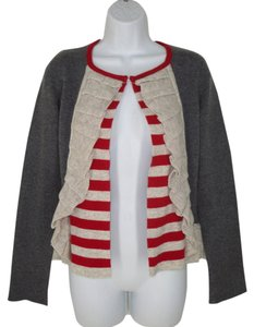 Anthropologie Ruffled Striped Wool Cardigan