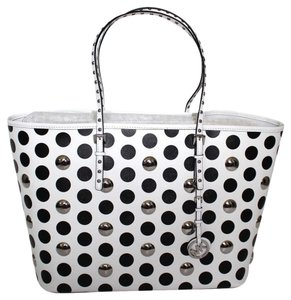 MICHAEL Michael Kors Studded Monogram Logo Tote in White with Black Polka Dots