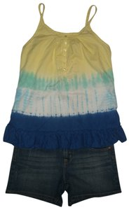 Justice 5 Pocket Style Zip Fly Mini/Short Shorts Blue-Yellow