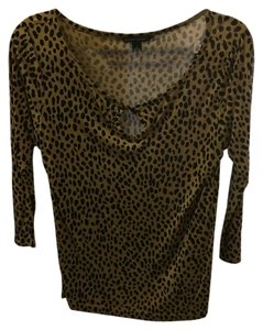 Banana Republic Top Black and Tan - Animal print
