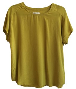 Broadway & Broome Green Silk Top Chartreuse