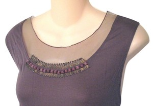 Simply Vera Vera Wang By Xl Sheer Mesh Panel Neckline Beaded Embellished Knit Top Taupe