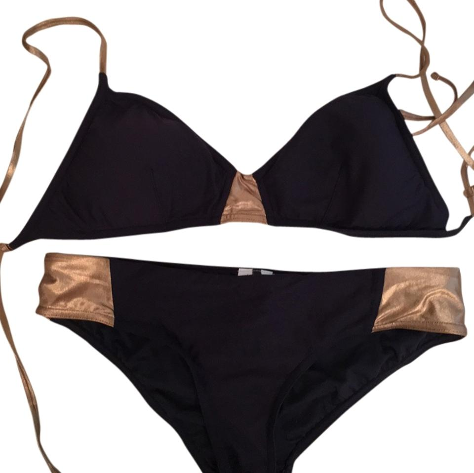 143b985fd13b3 J.Crew Navy and Gold Bikini Set Size 8 (M) - Tradesy