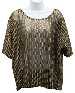 See Through Mesh Gold Party Top