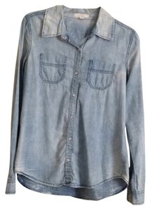 Iris Los Angeles Button Down Shirt Distressed Blue Chambray