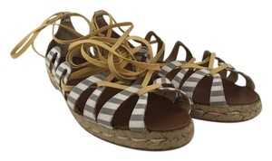 Christian Louboutin Espadrille Striped Blue and White with Yellow Laces Flats