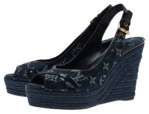 Louis Vuitton Blue Denim Wedges