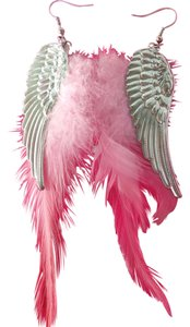 New sexy pink angel wing feathered earrings
