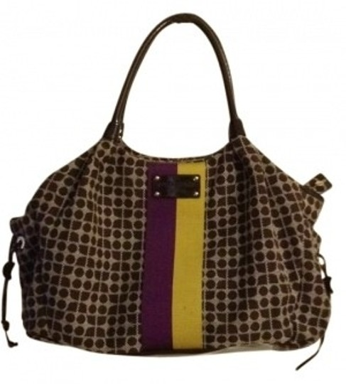 Kate Spade brown/cream/purple/gold Diaper Bag