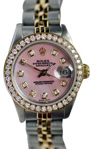 Rolex Rolex Ladies Datejust 26mm 18kt Yellow Gold Steel Pink MOP Diamond Dial Watch